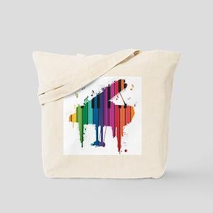 Paint Splash Piano Tote Bag