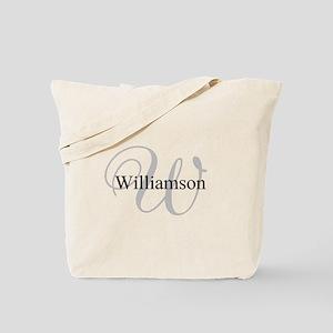 CUSTOM Initial and Name Gray/Black Tote Bag