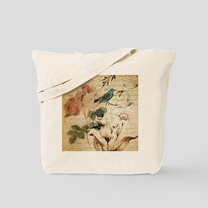 teal bird vintage roses swirls botanical  Tote Bag