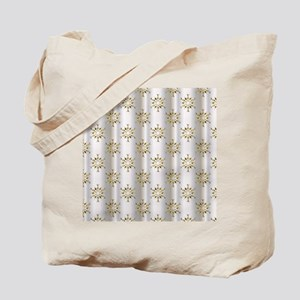 Gold Christmas Stars on Silver Tote Bag