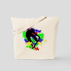 Graffiti Paint Splotches Skateboarder Tote Bag