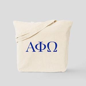 Alpha Phi Omega Letters Blue Tote Bag