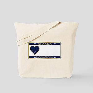 Alaska State License Plate Tote Bag