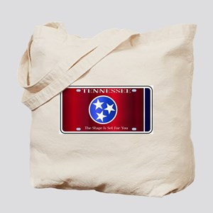 Tennessee State License Plate Flag Tote Bag