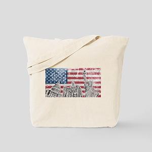 Vintage America Flag Tote Bag