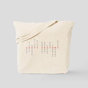Grey's Vertical Character Names Tote Bag