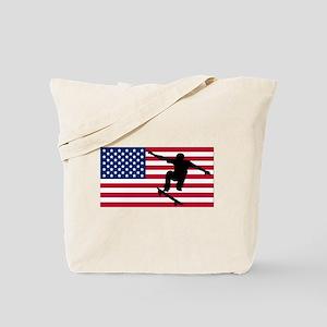 Skateboarding American Flag Tote Bag