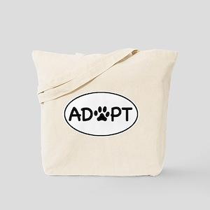 Adopt White Oval Tote Bag
