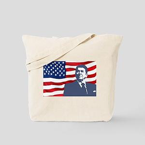 Reagan and Flag Tote Bag