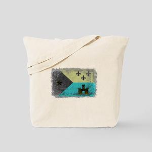 Vintage Grunge Acadian Flag Tote Bag