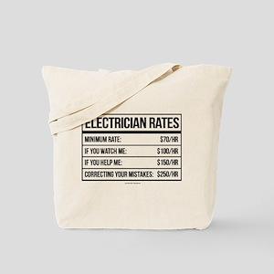 Electrician Rates Humor Tote Bag
