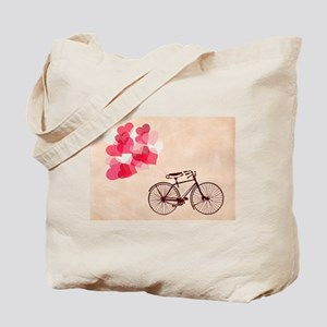 Heart-Shaped Balloons and Bicycle Tote Bag