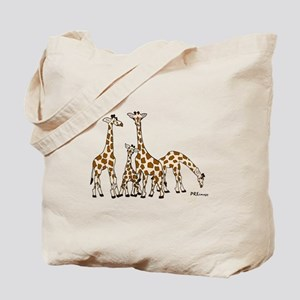 Giraffe Family Portrait in Browns and Beige Tote B