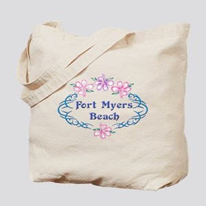 Fort Myers Beach: Flower Oval Tote Bag
