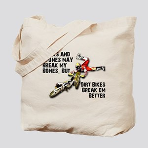 Sticks And Stones Dirt Bike Motocross T-Shirt Tote