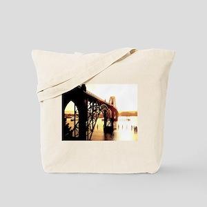 Newport Bridge Sunset Tote Bag