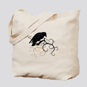 Black Raven Swirl Branches Tote Bag