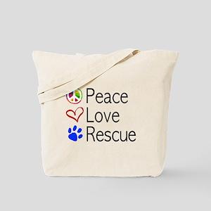 Peace Love Rescue Tote Bag