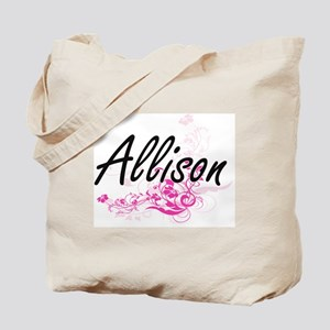 Allison Artistic Name Design with Flowers Tote Bag