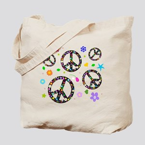Peace symbols and flowers pat Tote Bag
