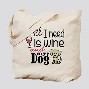 Wine & Dog Tote Bag