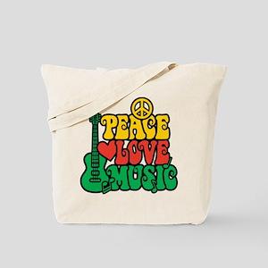 Reggae Peace Love Music Tote Bag