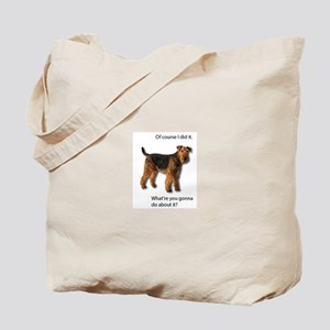 Guilty Airedale Shows No Remorse Tote Bag