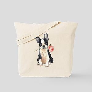 Boston Terrier Rose Tote Bag