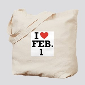 I Heart February 1 Tote Bag