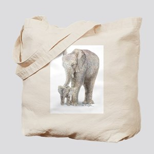 Mother and baby elephant Tote Bag