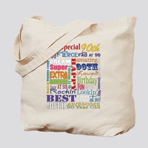 90th Birthday Typography Tote Bag