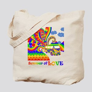 Retro Rainbow Hippie Van Tote Bag