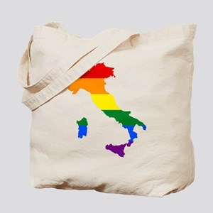 Rainbow Pride Flag Italy Map Tote Bag