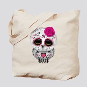 Pink Day of the Dead Sugar Skull Owl Tote Bag