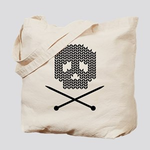 Knit Skull and Crossbones Tote Bag
