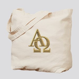 """3-D"" Golden Alpha and Omega Symbol Tote Bag"