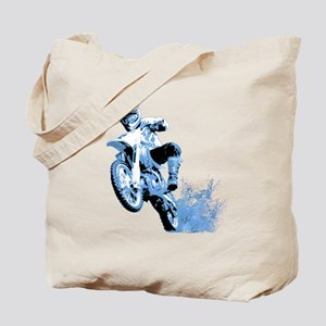 Blue Dirtbike Wheeling in Mud Tote Bag