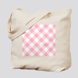 Light Pink and White Gingham Tote Bag