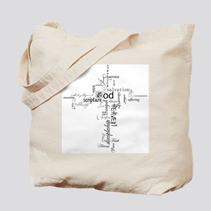 Christian cross word collage Tote Bag