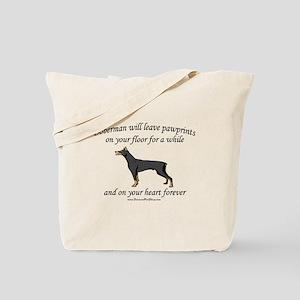 Doberman Pawprints Tote Bag