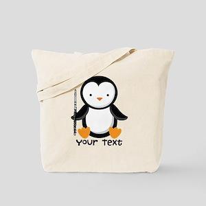 Personalized Flute Penguin Tote Bag