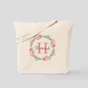 Watercolor Floral Wreath Monogram Tote Bag