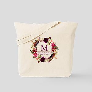 Boho Wreath Wedding Monogram Tote Bag