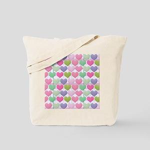Gingham Hearts Pastel Pattern Tote Bag