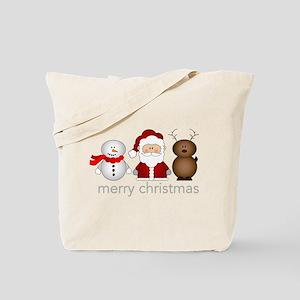 Santa, Reindeer And Snowman Tote Bag