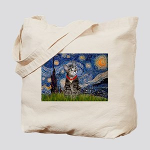 Starry Night / Tiger Cat Tote Bag
