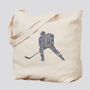 Hockey Player Typography Tote Bag