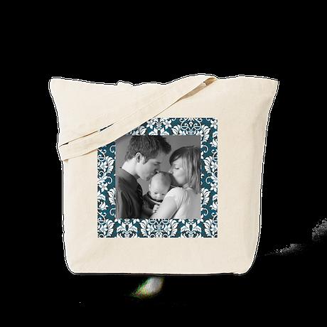 Custom Photo Damask Frame Tote Bag