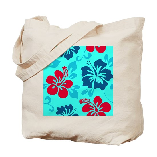 Cyan-red-navy Hawaiian Hibiscus