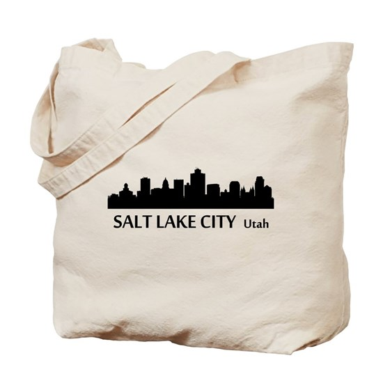 Salt Lake City Cityscape: Salt Lake City Cityscape Skyline Tote Bag By KWGdesigns
